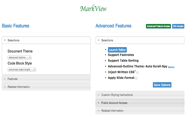 MarkView Options Page